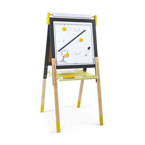 Tableau Réglable gris et jaune en bois 13 accessoires enfant à partir de 3 ans JANOD