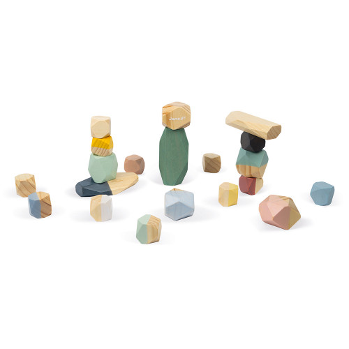 Pierres à empiler sweet cocoon en bois, éveil motricité, logique, design, pour enfant à partir de 2 ans JANOD
