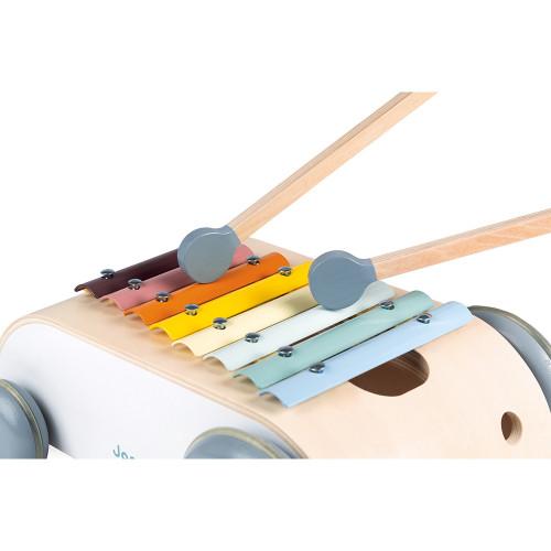 Xylo roller sweet cocoon en bois, xylophone, jouet à tirer, éveil musical sonore, motricité bébé, pour enfant dès 18 mois JANOD