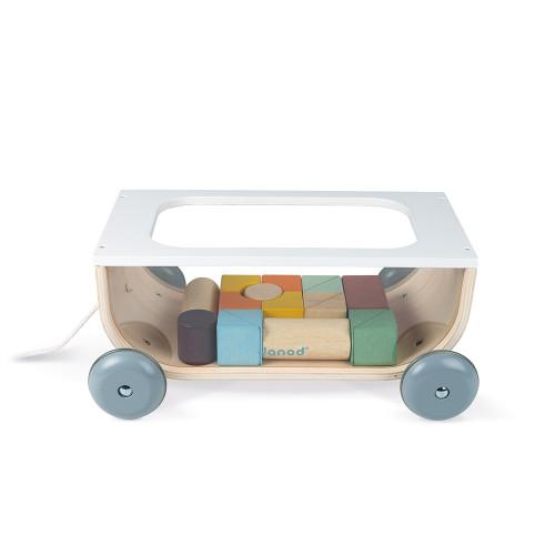 Chariot de Cubes Sweet Cocoon en bois, jouet à promener, à tirer, blocs, éveil motricité bébé, pour enfant dès 18 mois JANOD