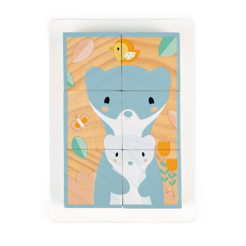 Barquette 6 Cubes Pure en bois, animaux, blocs, éveil motricité bébé, pour enfant à partir de 12 mois JANOD