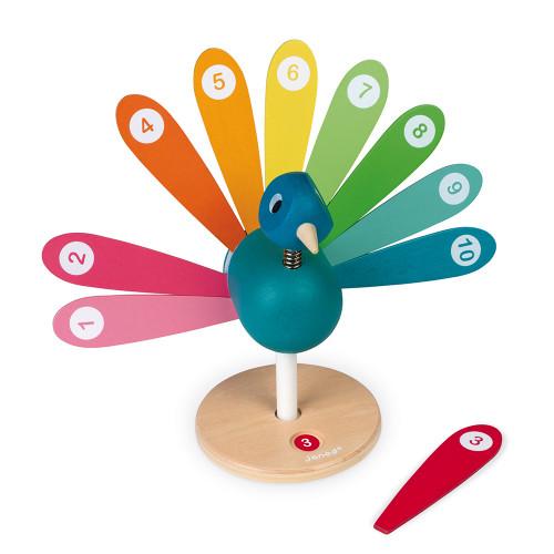 J'Apprends à Compter - Paon en bois, chiffres, nombres, éducatif, couleurs, pour enfant dès 2 ans JANOD