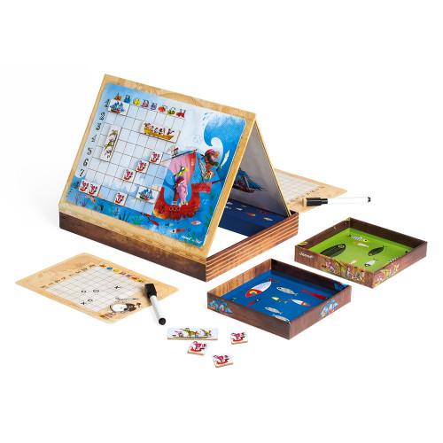 Bataille Navale Pirates, jeu de société, magnétique, famille, stratégie logique, pour enfant à partir de 5 ans JANOD