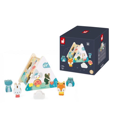 Boîte à Formes Pure en bois, manipulation encastrement, éveil motricité, animaux, pour enfant à partir de 18 mois JANOD