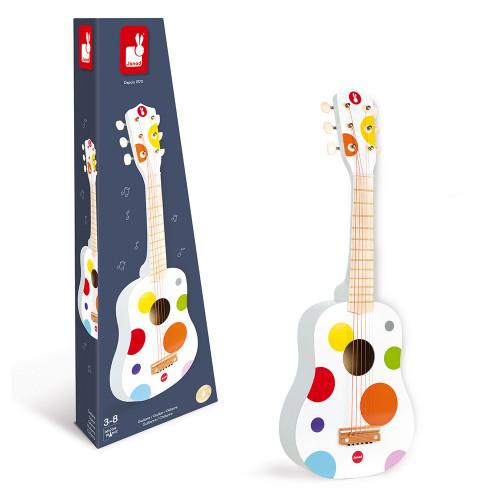 Guitare Confetti en bois, blanc pois, imitation instrument de musique, éveil musical sonore, pour enfant à partir de 3 ans JANOD