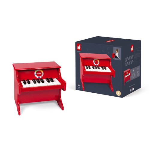 Piano Confetti en bois, rouge, éveil sonore musical, imitation instrument de musique, pour enfant à partir de 3 ans JANOD
