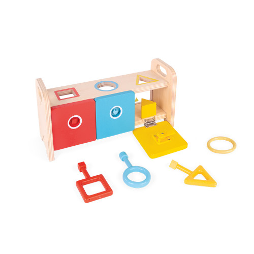 La Boite à Clefs - Essentiel en bois, éveil motricité logique, couleurs, manipulation, pour enfant à partir de 18 mois JANOD