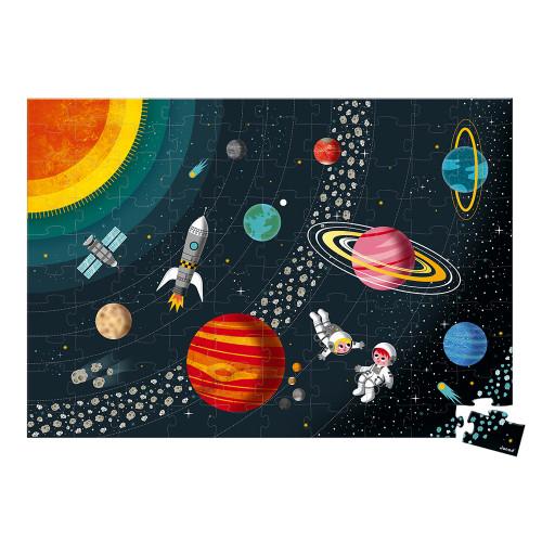 Puzzle éducatif Système Solaire 100 pièces, carton, science, planètes, espace, pour enfant à partir de 5 ans JANOD