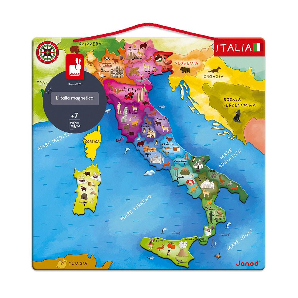 Cartina Geografica Italia Croazia.Mappa D Italia Magnetica 20 Pezzi Legno