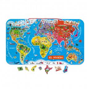 Magnetische Landkarte Die Welt Spanisch 92 Teile (Holz)