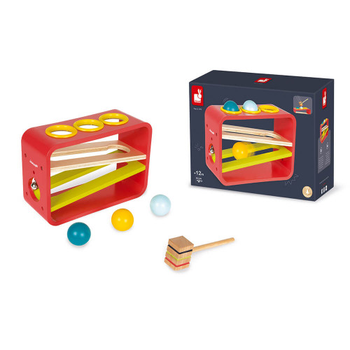 Frappa'Ball Tatoo en bois, banc à marteler, éveil motricité bébé, descendeur, pour enfant à partir de 12 mois JANOD