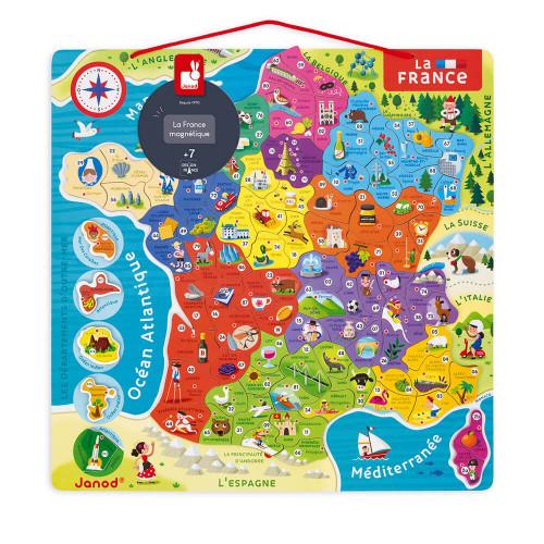 Puzzle France Magnétique en bois 93 magnets - Nouvelles régions 2016 carte géographie enfant à partir de 7 ans