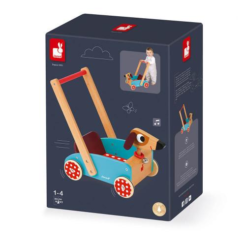 Chariot Crazy Doggy en bois, chariot de marche, éveil motricité bébé, chien, pour enfant à partir de 12 mois JANOD