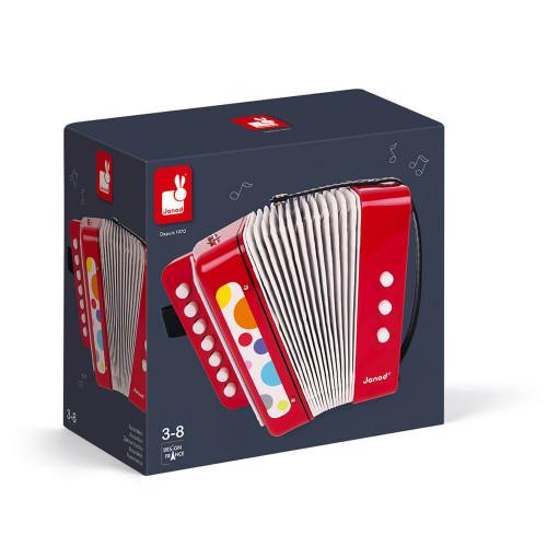 Accordéon Confetti, imitation instrument musique, rouge, éveil musical sonore, pour enfant à partir de 3 ans JANOD
