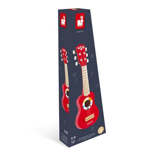 Ma Première Guitare Confetti en bois instrument musique rouge enfant à partir de 3 ans