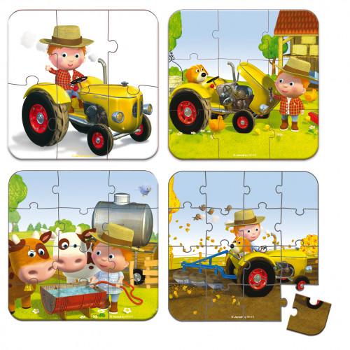 Valisette 4 puzzles Tracteur Peter