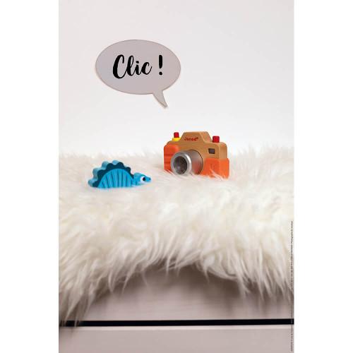 Appareil Photo Sonore en bois et silicone, imitation, éveil sonore musical, caméra, orange, pour enfant dès 18 mois JANOD