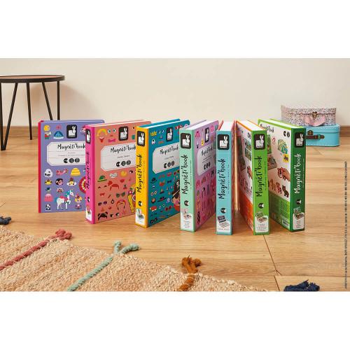 Magnéti'book Crazy Faces fille, 55 magnets, magnétique, personnages, visages, pour enfant à partir de 3 ans JANOD