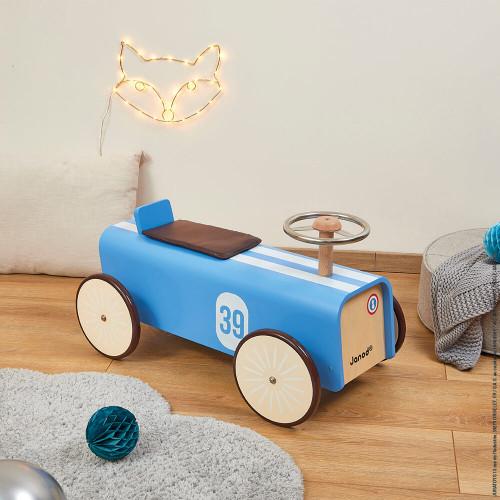 Porteur voiture en bois, vintage, trotteur, motricité équilibre, bleu, pour enfant à partir de 2 ans JANOD