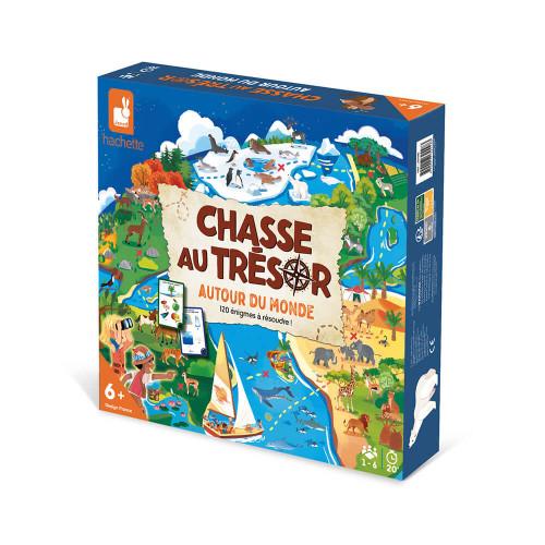 Jeu chasse au trésor autour du monde, jeu de société, éducatif, géographie aventure et quête, pour enfant à partir de 6 ans JANO