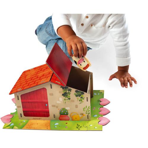 Jeu Farm Fun en carton FSC, jeu de société, famille, ferme, jeu de mémoire et association tactile pour enfant dès 2 ans JANOD
