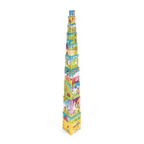Pyramide triangle la Vie à la Ferme, cubes en carton, animaux, éveil motricité manipulation bébé, pour enfant dès 12 mois JANOD