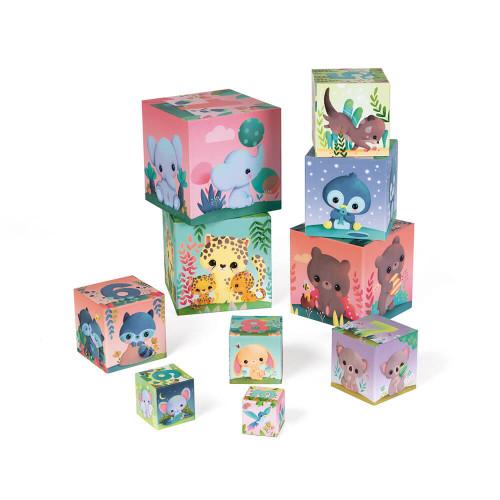 Pyramide Carrée les Animaux tous mignons, cubes en carton, éveil motricité manipulation bébé, pour enfant dès 12 mois JANOD