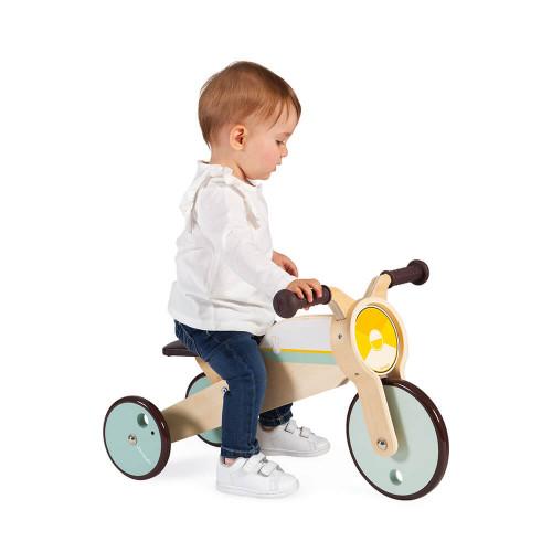 Tricycle 2 en 1 à bascule en bois FSC, modulable, porteur bébé, vintage, éveil et équilibre pour enfant dès 12 mois JANOD