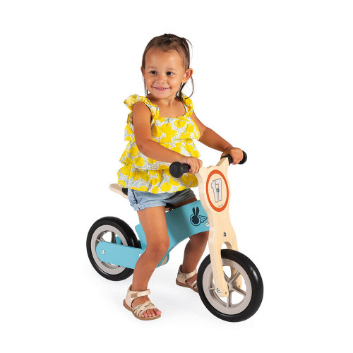 Draisienne Bikloon Little Racer bleue en bois FSC, porteur, éveil motricité équilibre, plein air, pour enfant dès 2 ans JANOD