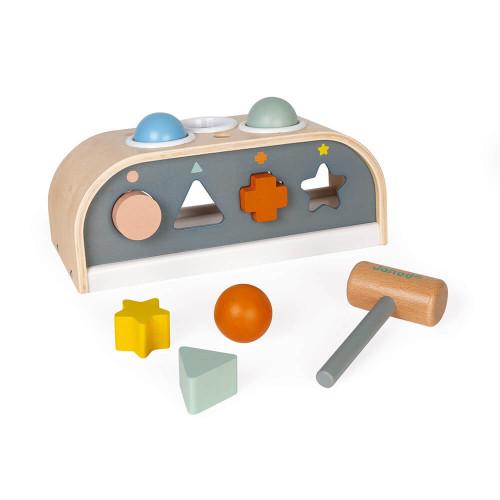 Tap tap Sweet Cocoon en bois FSC, banc à marteler, éveil motricité et formes bébé, pour enfant dès 12 mois JANOD
