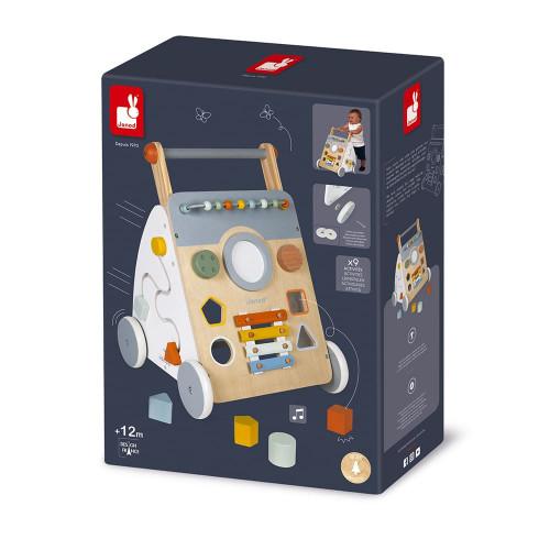 Chariot Multi-Activités Sweet Cocoon en bois, chariot de marche, éveil motricité sonore et manipulation bébé, pour enfant dès 12