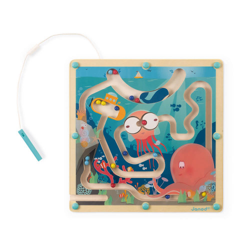 Labyrinthe à billes Océan en bois FSC, magnétique, éveil motricité, jeu d'adresse pour enfant dès 2 ans JANOD