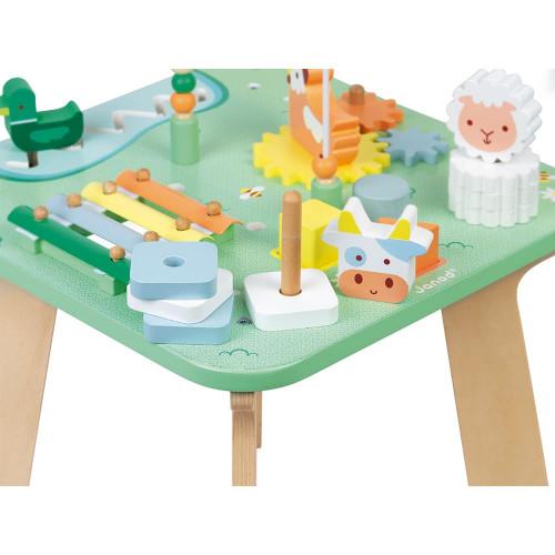 Table d'Activités Jolie Prairie en bois, éveil motricité bébé, manipulation, table d'éveil, pour enfant dès 12 mois JANOD