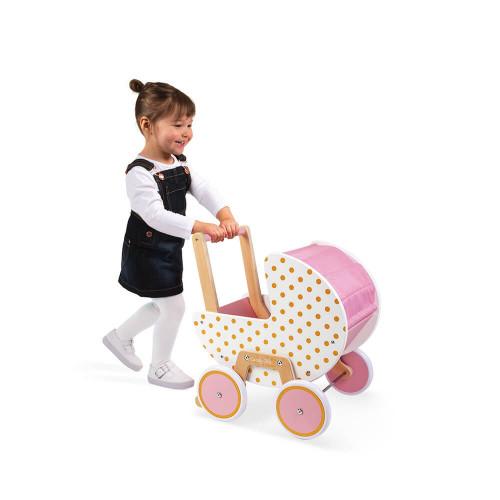 Landau Candy Chic en bois, rose et blanc, poussette, éveil marche, poupon et poupée, pour enfant dès 18 mois JANOD