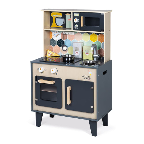 Grande Cuisine Mozaïc en bois, imitation dinette marchande, sonore et lumineuse, 6 accessoires, pour enfant dès 3 ans JANOD