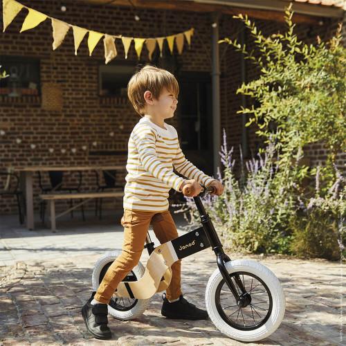 Draisienne Deluxe, bois et métal, plein air, motricité équilibre, selle réglable, pneus gonflables, pour enfant dès 3 ans JANOD