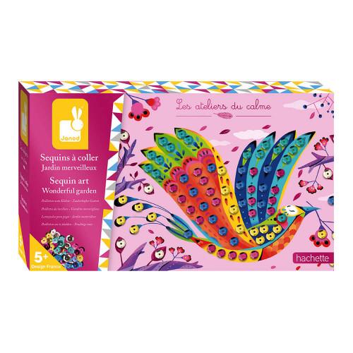 Kit créatif sequins à coller jardin merveilleux, loisir créatif, cartes à décorer, pour enfant dès 5 ans JANOD