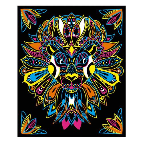 Kit créatif coloriages et feutres fluo animaux, loisir créatif, animaux à colorier, pour enfant dès 7 ans JANOD