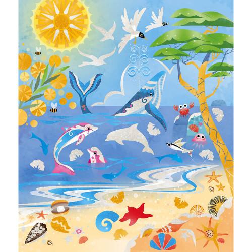 Kit créatif peinture nacrée avec pochoir 4 saisons, activité manuelle, cartes à peindre, pour enfant dès 7 ans JANOD