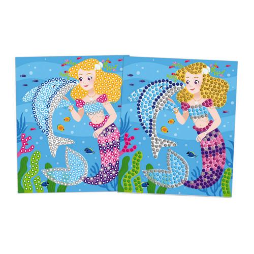 Kit créatif mosaïques dauphins et sirènes, loisir créatif, tableaux à décorer, pour enfant dès 7 ans JANOD