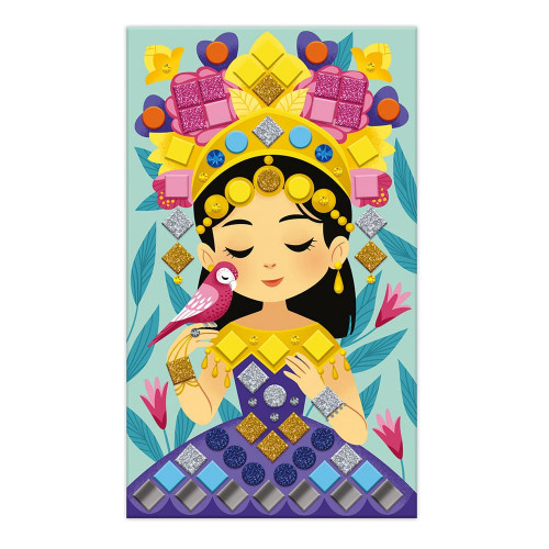 Janod J07962 Mosaic Princesses and Fairies Les Ateliers du Calme Set for Creative Leisure Activities Children Development of Fine Motor Skills and Concentration from 5 Years