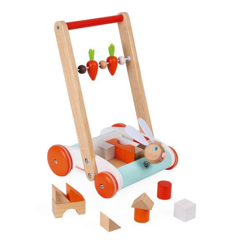 Chariot de marche Janod Lapin, jouet d'éveil, motricité, marche, 19 cubes en bois, pour enfant dès 12 mois JANOD