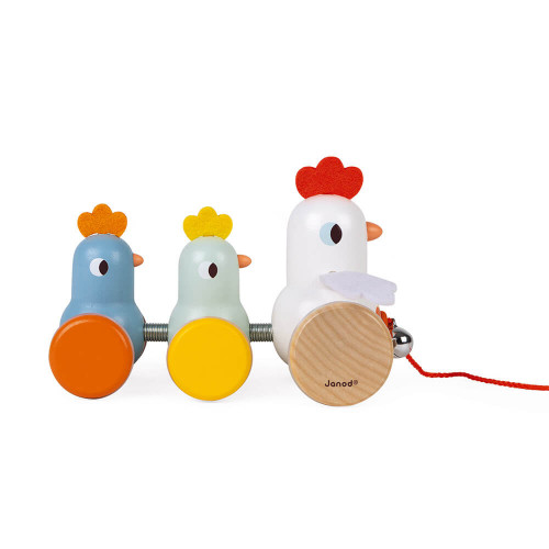Poule et poussins à promener, jouet d'éveil, 1er âge, marche, motricité, pour enfant dès 18 mois JANOD