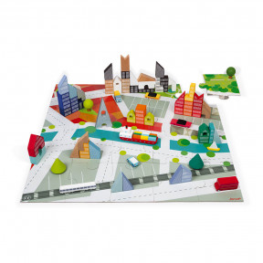 Kubix 60 Klötze aus Holz + Puzzle aus Pappe Die Stadt