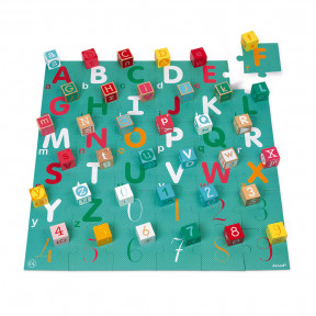Kubix 40cubos de madera + puzle de cartón letras/números
