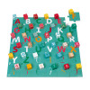 40 Wooden Kubix Cubes + Cardboard Letters/Numbers Puzzle
