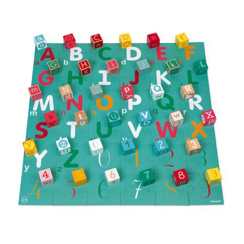 Kubix 40 cubes et puzzle carton lettres et chiffres en bois, jeu de construction, jeu d'éveil, jeu 2-en-1, pour enfant dès 2 ans
