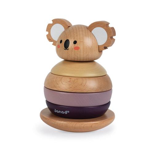Empilable culbuto koala en bois FSC partenariat WWF, manipulation, encastrement, jouet d'éveil, pour enfant dès 12 mois JANOD