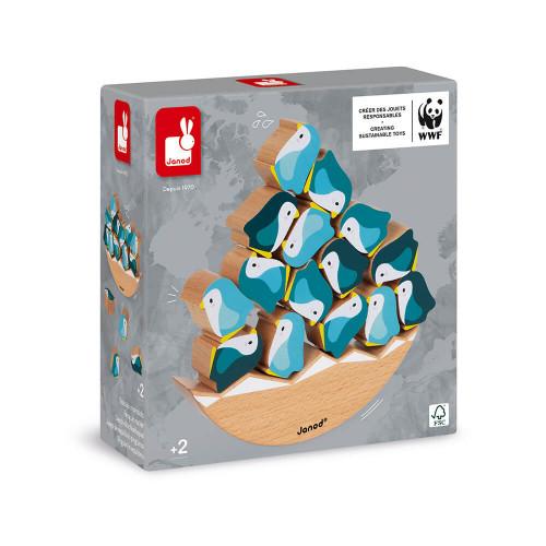 Jeu basculo manchots en bois FSC partenariat WWF, jeu d'adresse, équilibre, pour enfant dès 2 ans JANOD