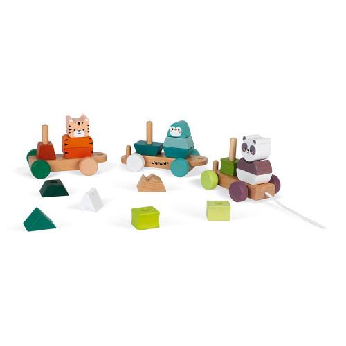 La balade des animaux en bois FSC partenariat WWF, jeu d'éveil, motricité, manipulation, encastrement, pour enfant dès 2 ans JAN